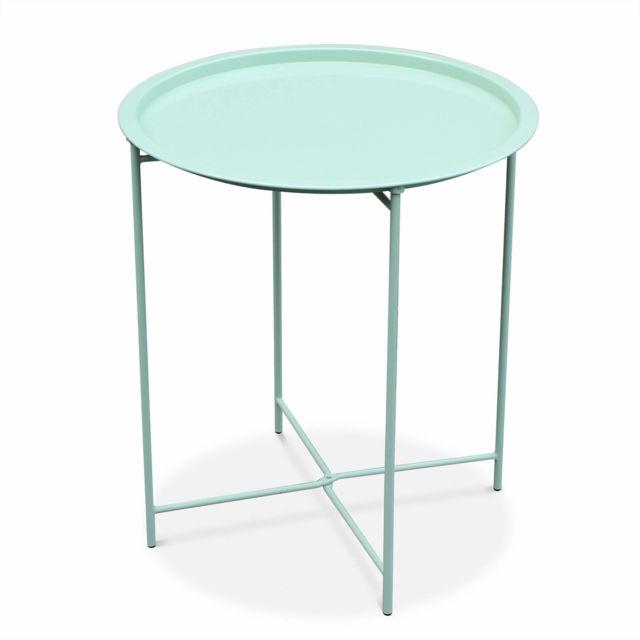alice 39 s garden table basse ronde alexia vert d 39 eau table d 39 appoint ronde 46cm acier. Black Bedroom Furniture Sets. Home Design Ideas