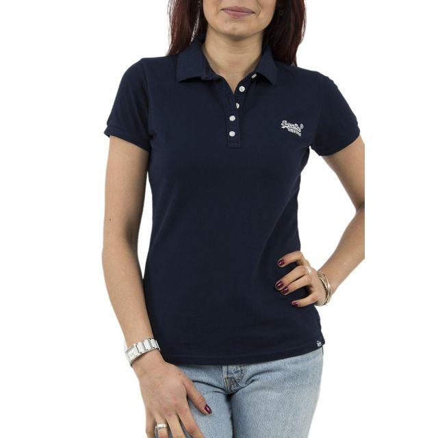 Superdry - Polos g11000tof1 bleu - pas cher Achat   Vente Polo femme -  RueDuCommerce 33618ee1a5b