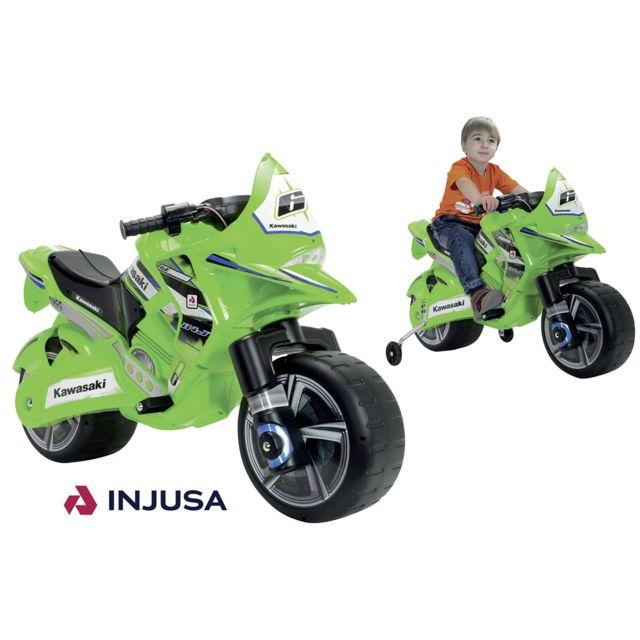INJUSA Moto électrique Kawasaki 6V - Vert - 6475 Avec un design sportif et moderne, cette moto pour enfant a tout d'une vraie moto Kawasaki. Elle deviendra le jouet préféré de votre enfant pour l'accompagner lors de vos balades !- Vit