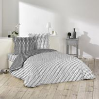 Homea - Cdaffaires Housse de couette 2 pers. 240 x 220 cm imp. 57 fils allover rev yoga blanc/anth Blanc/Anthracite