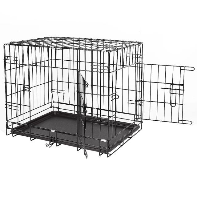 Ltppstore Jeobest®Cage de transport en métal pliante pour chien 91 x 58 x 64 cm Noir