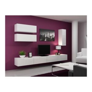 Chloe design meuble tv design suspendu fino blanc for Meuble tv mural suspendu