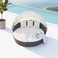 CONCEPT USINE - Cocoon : salon de jardin modulable 6/8 personnes en résine tressée gris/blanc