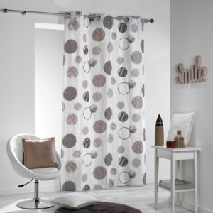 coton d 39 interieur cdaffaires rideau a oeillets 140 x 240 cm coton imprime romy naturel beige. Black Bedroom Furniture Sets. Home Design Ideas