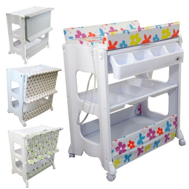 monsieur bebe table langer avec baignoire et rangements rose pas cher achat vente. Black Bedroom Furniture Sets. Home Design Ideas