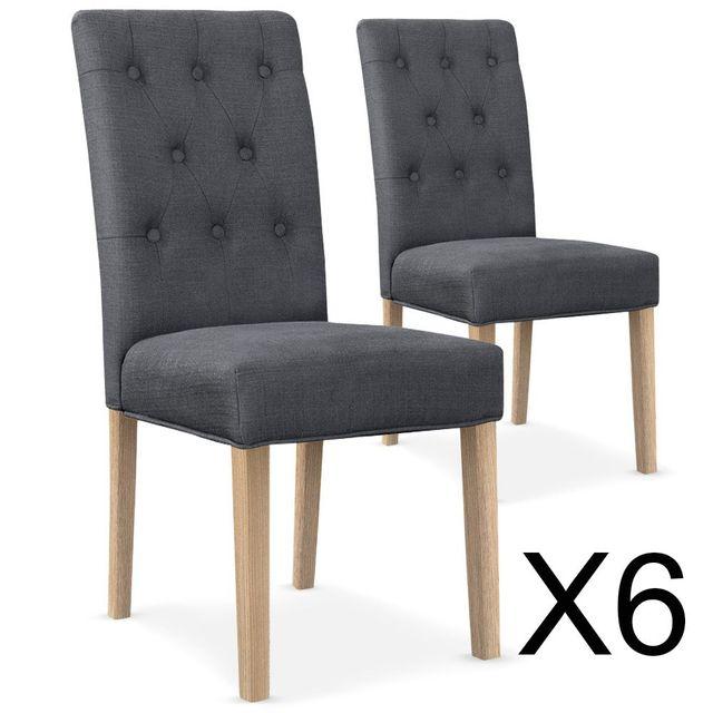 Lot de 6 chaises capitonnées Gaya tissu gris - pas cher Achat ... e8ca87895844