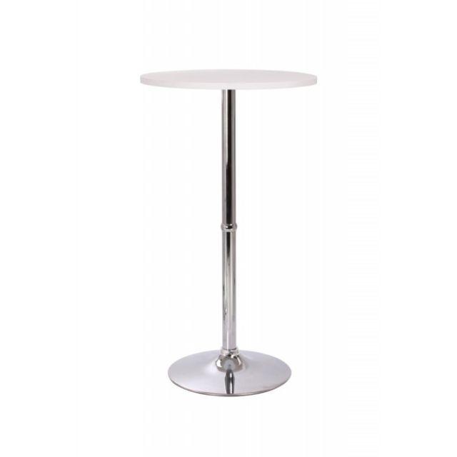 Decoshop26 Table haute de bar bistrot blanc 108cm Tab09001