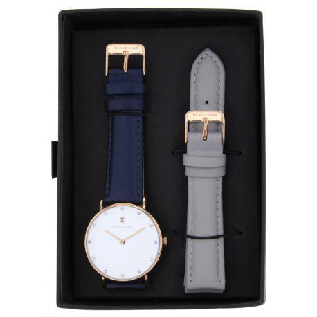 black oak montres bleu pour femme bx62004rset 001 achat vente montre analogique pas ch re. Black Bedroom Furniture Sets. Home Design Ideas