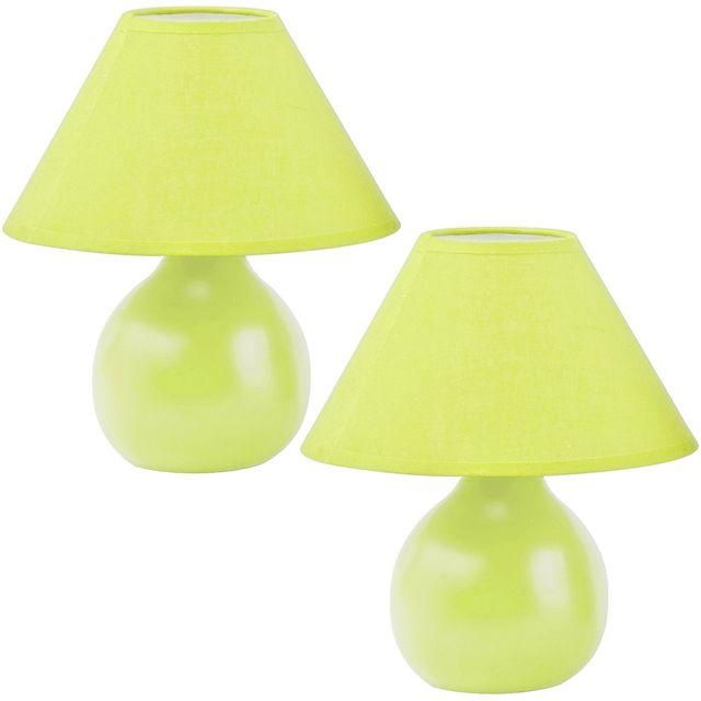 Set Ensemble Duo 2 Lampes Design Boule Abat Jour Et Pied Coloris Vert
