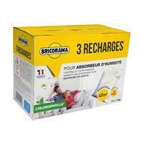 Bricorama - Lot de 3 recharges sachets de 1 kg chlorophylle pour absorbeur d'humidité