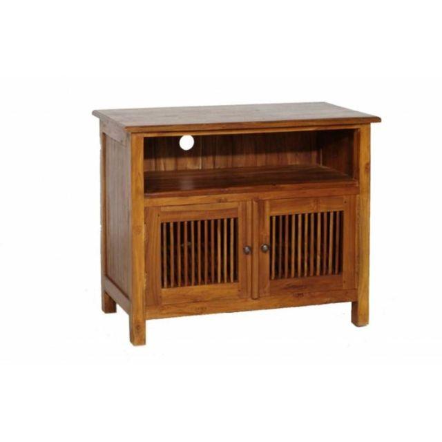 266d56a47d6f5e good inside meuble tv tiroirs persiennes colonial en teck massif with meuble  teck