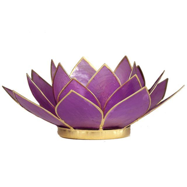 Phoenix Porte Bougie Fleur de Lotus Lilas