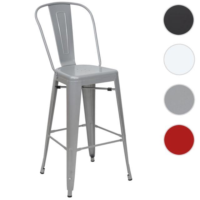 Mendler Tabouret de bar Hwc-a73, chaise de comptoir avec dossier, métal, design industriel ~ gris