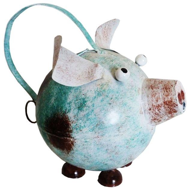 Les Animaux De La Fee Arrosoir Cochon déco style bleu