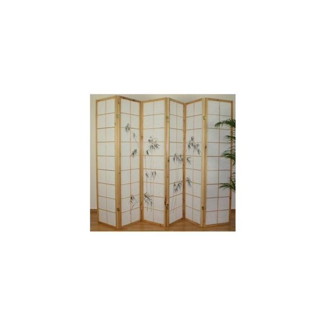 Decoshop26 - Paravent 6 panneaux japonais en bois 264x175 cm ...