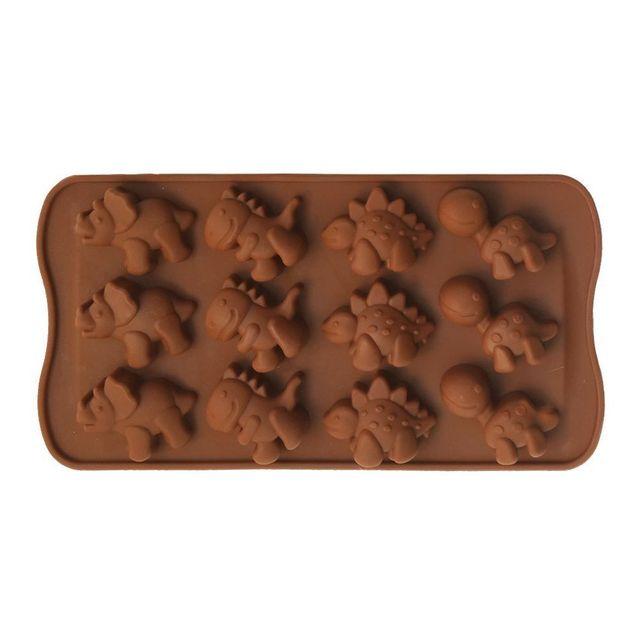 Yonis Plaque de 12 moules silicone dinosaure chocolat glaçon bonbon marron