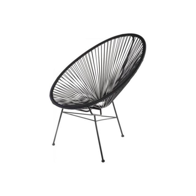declikdeco fauteuil la chaise longue noir acapulco pas cher achat vente fauteuils. Black Bedroom Furniture Sets. Home Design Ideas