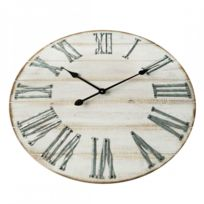 595e0fdbdf36d Mobili Rebecca - Horloge Murale Bois Metal Design Vintage Ø 60 cm