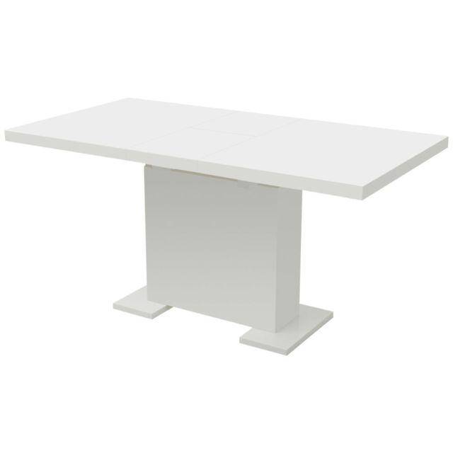 Uco Table extensible de salle à manger Blanc brillant