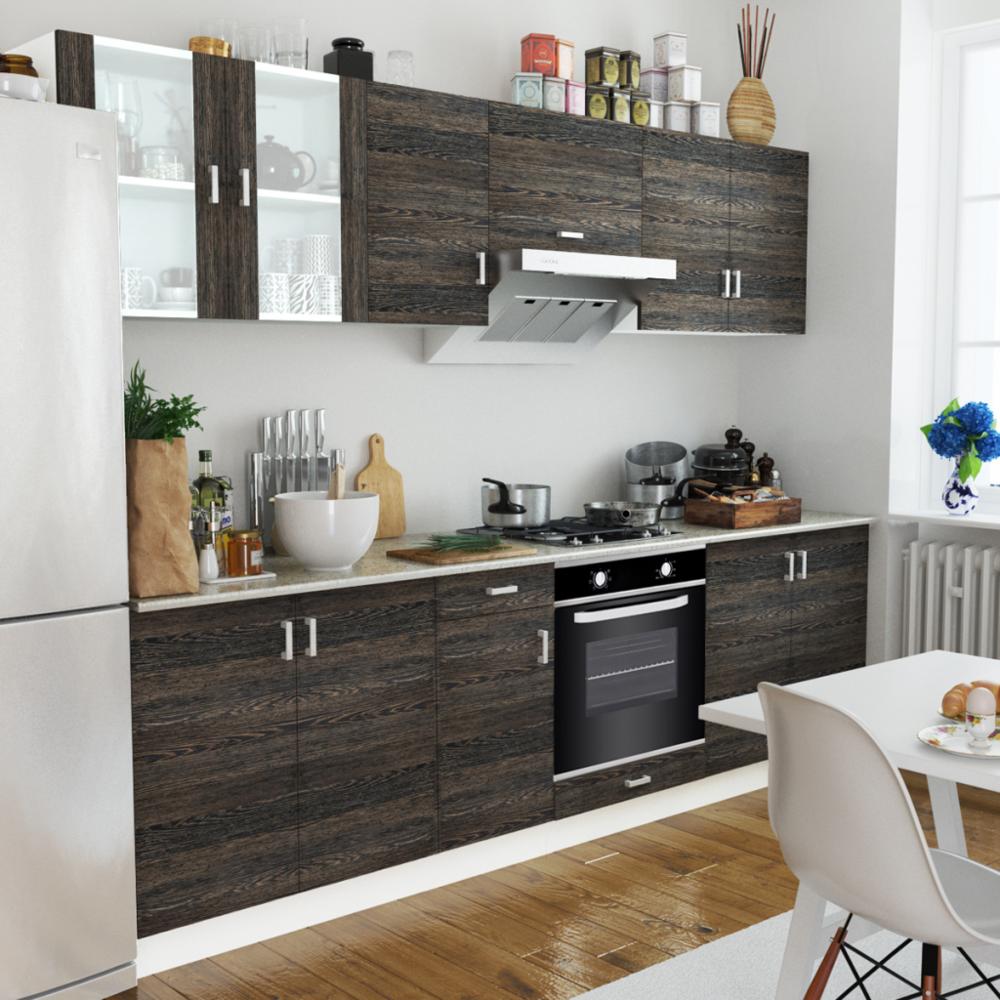 Rocambolesk - Superbe Cuisine complète avec Four intégré 6 fonctions Aspect wenge neuf