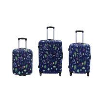 CARREFOUR - Lot de 3 valises imprimée «Feuilles » - 50, 63 et 72 cm - ABS - BOXABSPRFLOWER