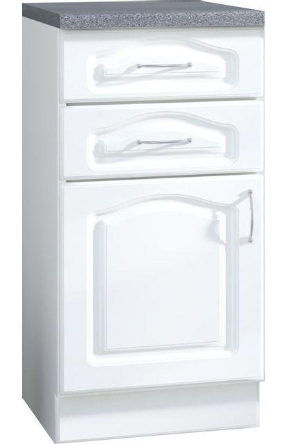 Comforium Meuble bas de cuisine style contemporain 40 cm avec 1 porte et 2 tiroirs coloris blanc