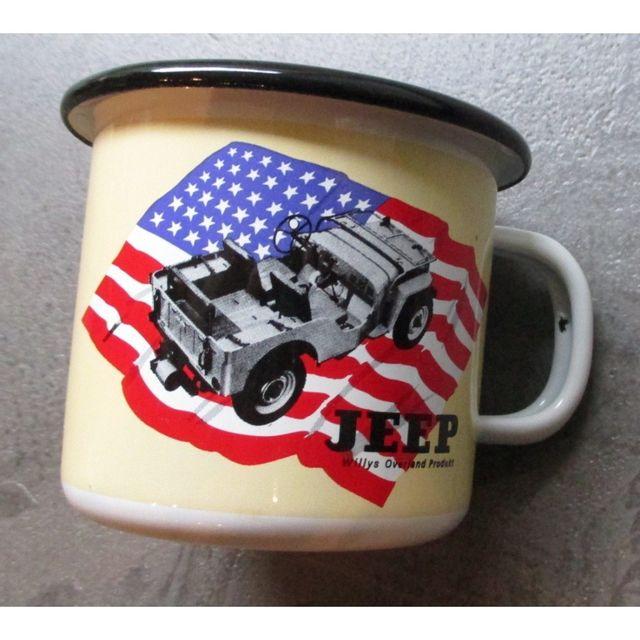 Universel Mug jeep drapeau americain en email tasse à café emaillée