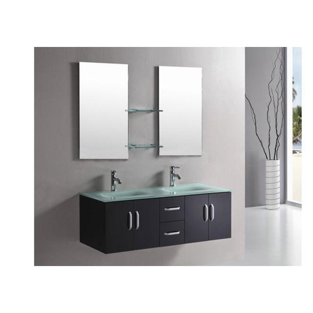 Simba - Meuble Salle De Bain Double Vasque Luxe 150cm Mod. Ice Noir ...