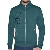 Calvin Klein - En Solde Veste Zippee - Col Polo - Homme - Ck9064 - Vert