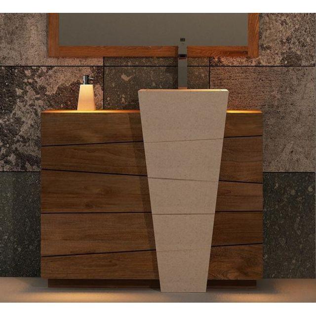 Walk meuble de salle de bain rhodes vasque blanche l100 - Meuble bas salle de bain sans vasque ...