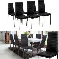 Idmarket - Lot de 6 chaises Romane noires pour salle à manger