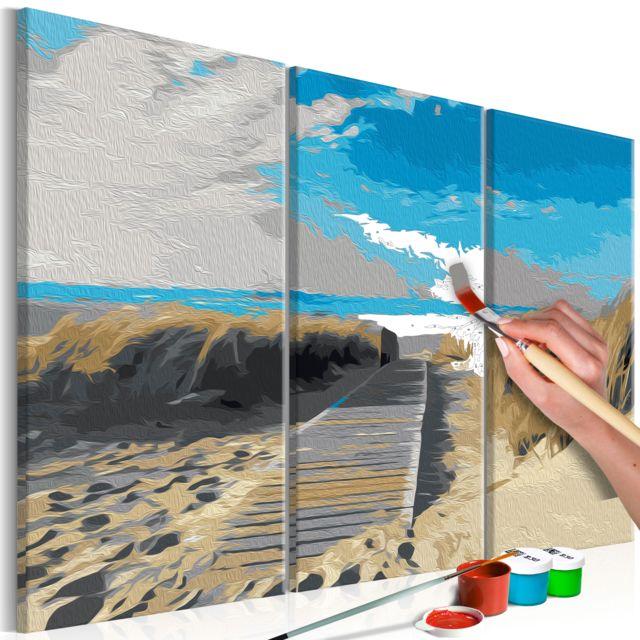Tableau à Peindre Par Soi Même Plage Ciel Bleu Décoration Image Art Peinture Par Numéros Kits De Peinture Pour Adultes 60x40 Cm