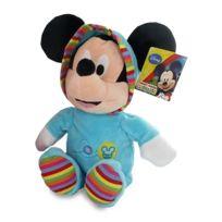 Nicotoy - Peluche 25 Cm Mickey En Grenouillere Bleue Turquoise A Rayures - Disney