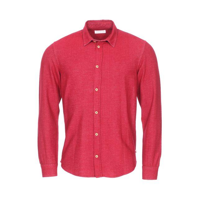 Harris Wilson Chemise droite Dano en flanelle de coton rouge cerise chiné