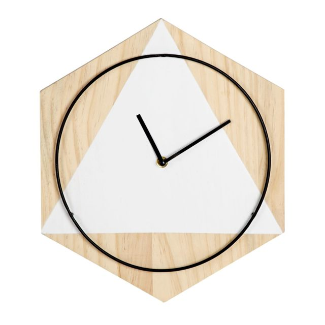 alin a hanna horloge murale g om trique en pin et m tal. Black Bedroom Furniture Sets. Home Design Ideas