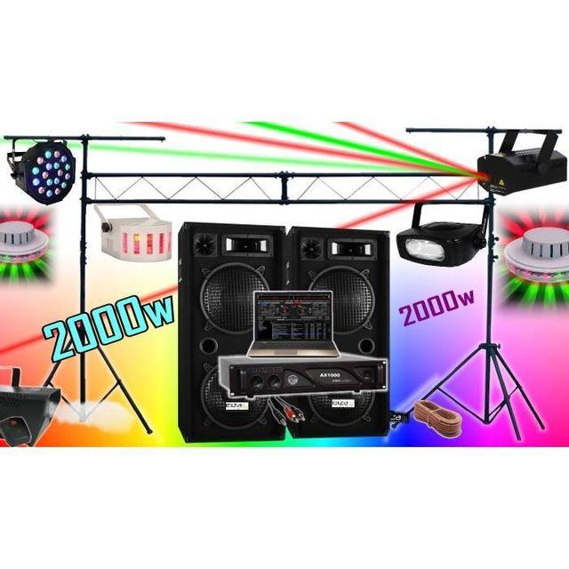 Ibiza Sound Pack Sono 2000W + Ampli + Enceintes + 6 Jeux De LumiÈRE + Machine A FumÉE + Portique De 3M . Padj Led