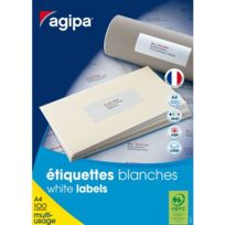 Agipa - Etiquettes adresses 48,5 x 25,4 mm 118991 - Boîte de 4000