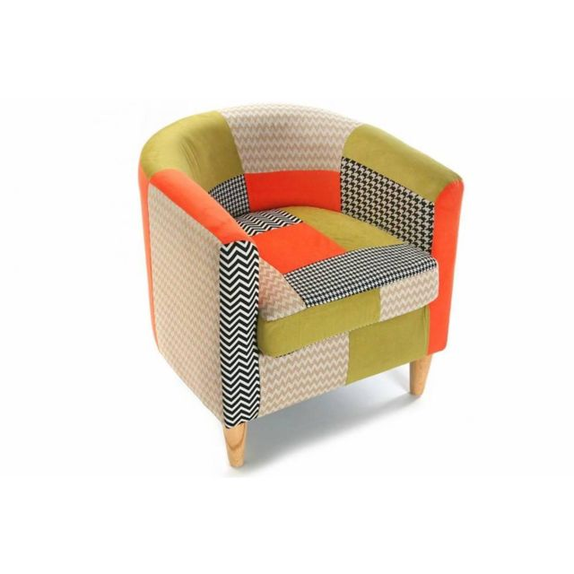 Inside 75 Fauteuil Houndstooth patchwork avec accoudoirs