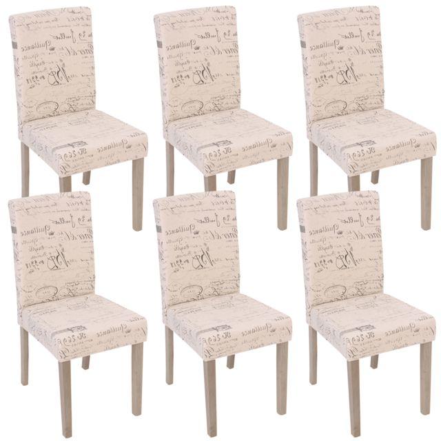 6x Chaise De Sejour Littau Fauteuil Tissu Avec Ecriture Creme Pieds Couleur Chaine
