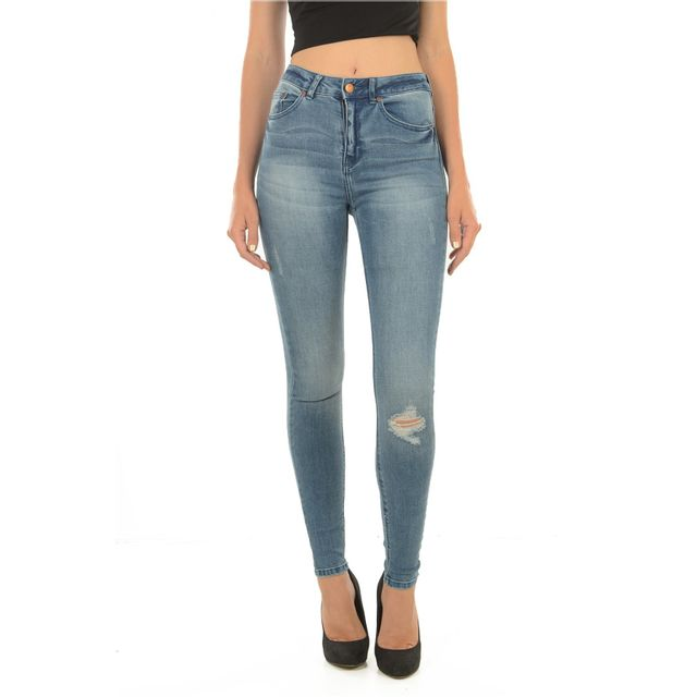 Only - Jean Taille Haute Stretch Pearl - pas cher Achat   Vente Jeans femme  - RueDuCommerce af56165f6558