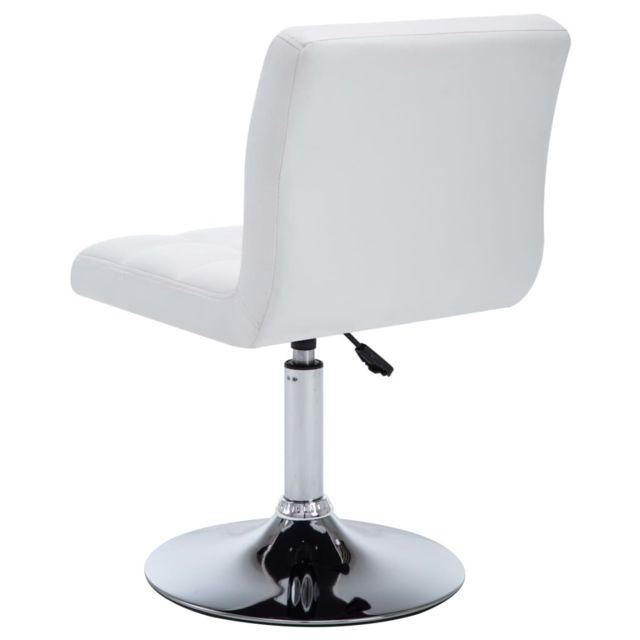 Chaise pivotante à dîner 6 pcs Similicuir 50 x 43 x 85 cm Blanc MeublesFauteuilsChaises de cuisine et de salle à manger   Blanc   Blanc