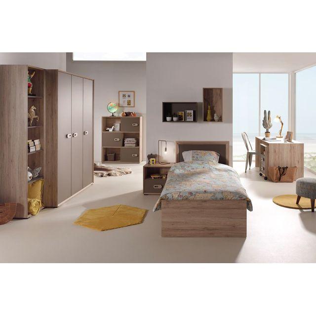 Comforium Ensemble complet 8 pièces pour chambre moderne avec lit 90x200 cm chevet, armoire 3 portes, bureau, bibliothèque, caisso