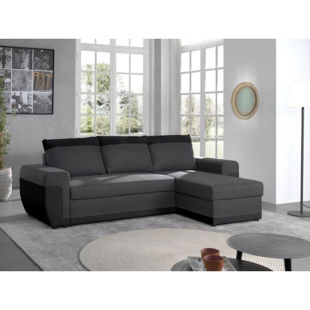 BESTMOBILIER Milan - Canapé d'angle réversible - 4 places - Convertible avec coffre - En simili et tissu Couleur - Noir / Gris