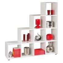Comforium - Meuble de séparation design escalier coloris blanc