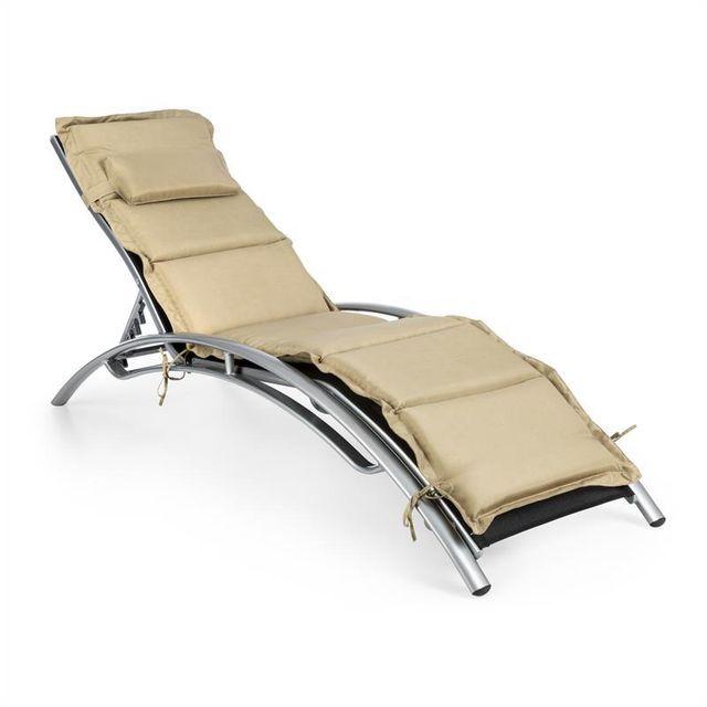 blumfeldt intermezzo chaise longue jardin aluminium rembourrage pu noirbeige - Chaise Longue Jardin