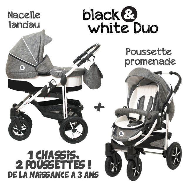 B&W - Poussette Combinée Duo 2 en 1 - Landau / nacelle + poussette promenade / hamac - Nombreux coloris - Livrée avec ses accessoires