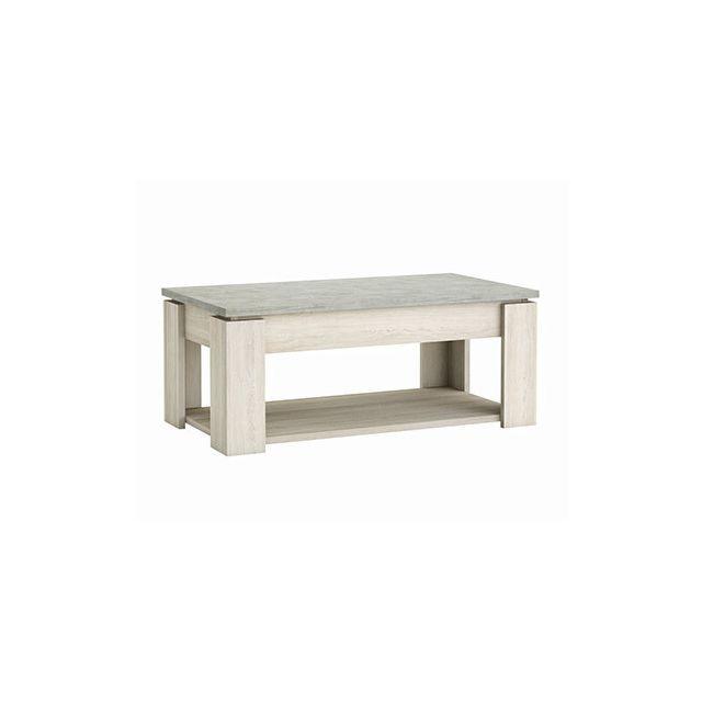 Table basse en décor chêne et béton clair