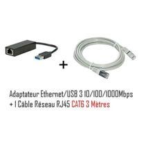 Cabling - Adaptateur Usb v3.0 vers réseau Rj45 10/100/1000 Mbps + Cable Rj45 Cat6 3 mètres