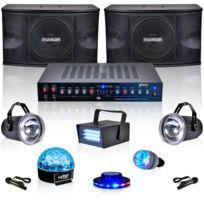 My Deejay - 6 jeux de lumière + 2 enceintes + ampli + 2 micros