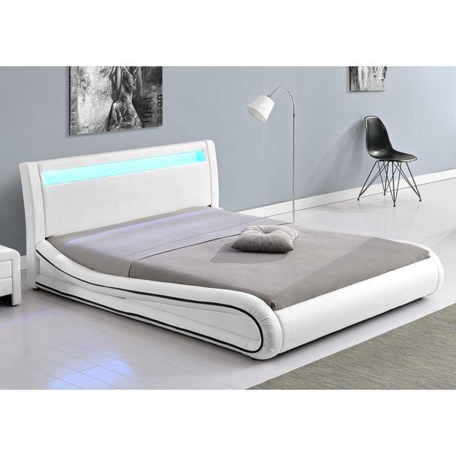 Concept Usine Lit Design Richmond 140x190 Blanc Tête De Lit Led